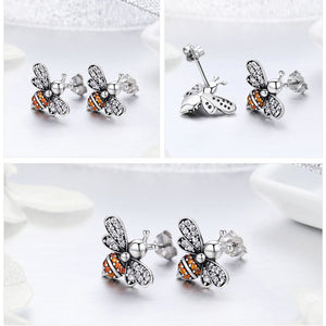 925 Sterling Silver Bee Shaped Stud Earrings