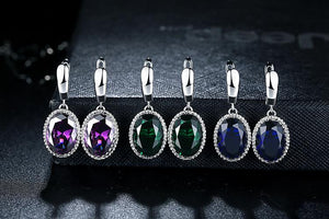 Silver Earrings with Drop Shaped Stone - Available in Multiple Colours