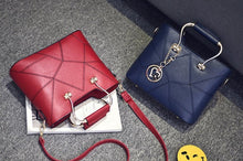 Load image into Gallery viewer, Geometric Patterned PU Leather Handbag with Heart Pendant - Available in Multiple Colours