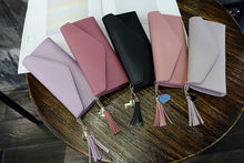 Load image into Gallery viewer, Envelope Shaped PU Leather Purse with Tassel Pendant