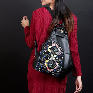 Vintage Embroidered Genuine Leather Backpack - Available in Multiple Styles