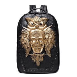 3D Owl Skull PU Leather Backpack