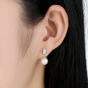 Sterling Silver Plated Drop Shaped Earrings with Imitation Pearls