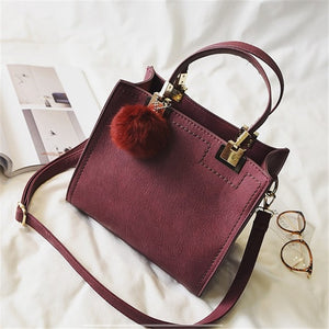 Suede Effect PU Leather Handbag with Fluffy Pendant - Available in Multiple Colours