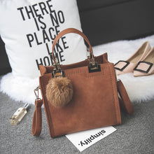 Load image into Gallery viewer, Suede Effect PU Leather Handbag with Fluffy Pendant - Available in Multiple Colours