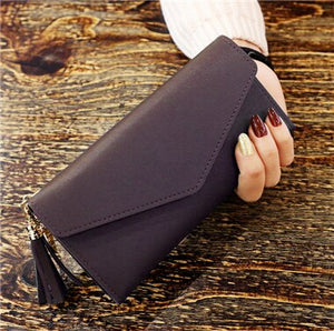 Envelope Shaped PU Leather Purse with Tassel Pendant