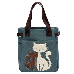Blue Canvas Travel Shoulder Bag