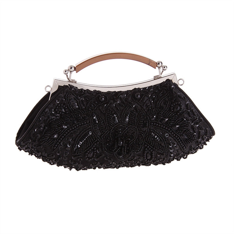Black Beaded Satin Clutch