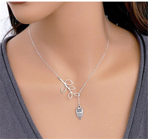 Owl Pendant Silver Necklace
