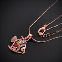Load image into Gallery viewer, Goldfish Shaped Rose Gold Necklace