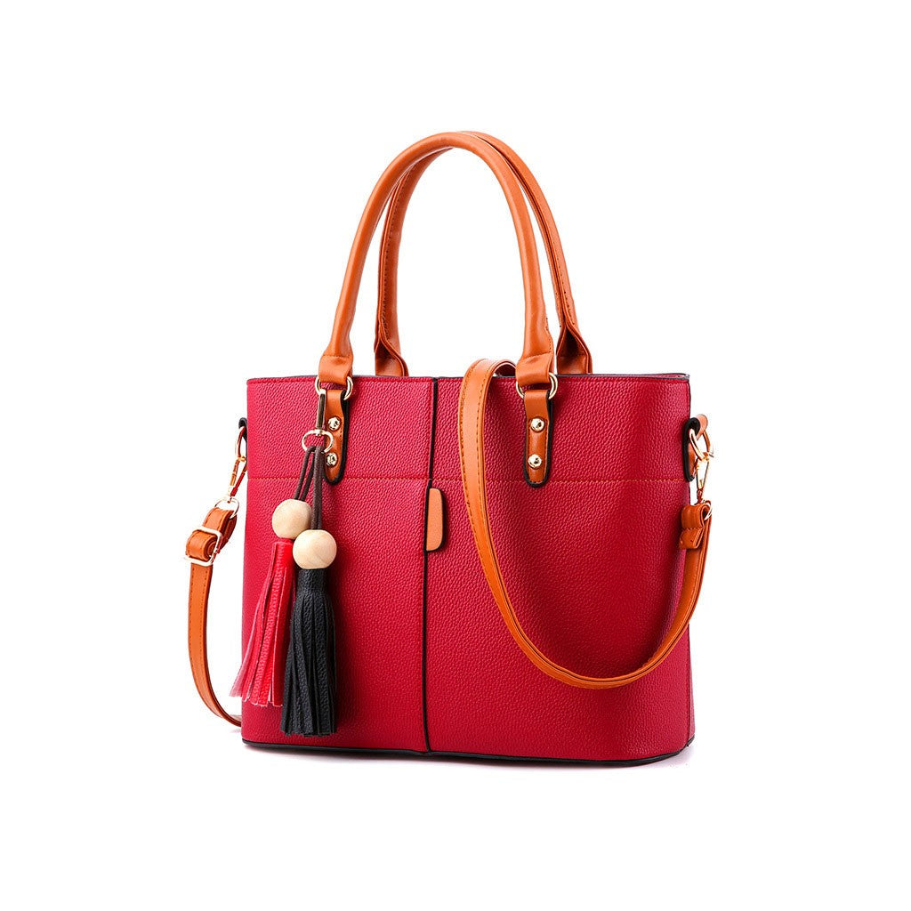 Red PU Leather Handbag