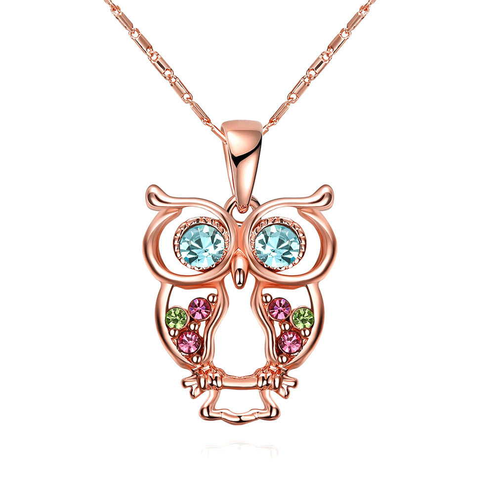 Multicoloured Owl Pendant Rose Gold Necklace