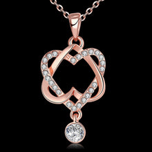 Load image into Gallery viewer, Hollowed Linked Heart Rose Gold Necklace