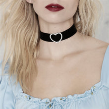 Load image into Gallery viewer, Black Flannel Choker with Silver Heart Pendant