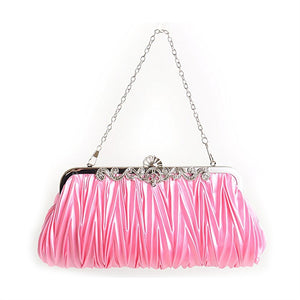 Pink Satin Evening Clutch