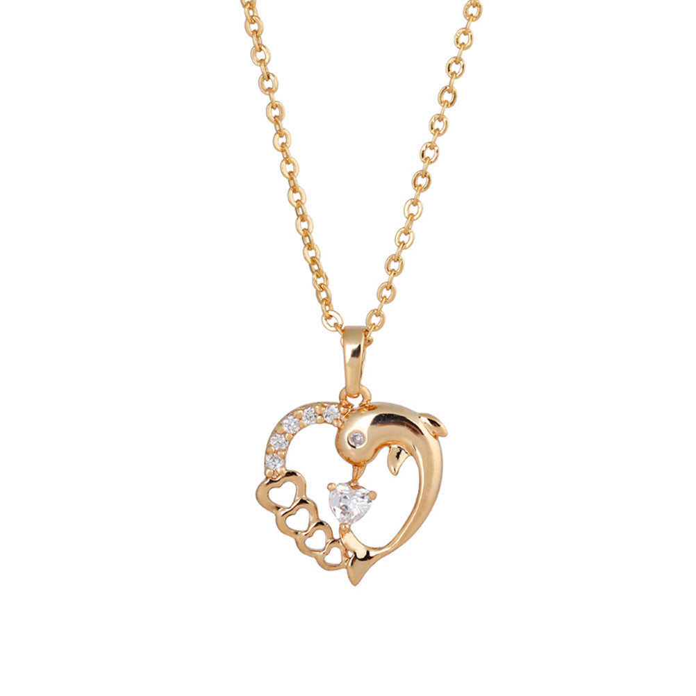 Dolphin Heart Shaped Hollowed Gold Necklace