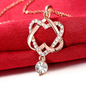 Hollowed Linked Heart Rose Gold Necklace