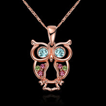 Load image into Gallery viewer, Multicoloured Owl Pendant Rose Gold Necklace