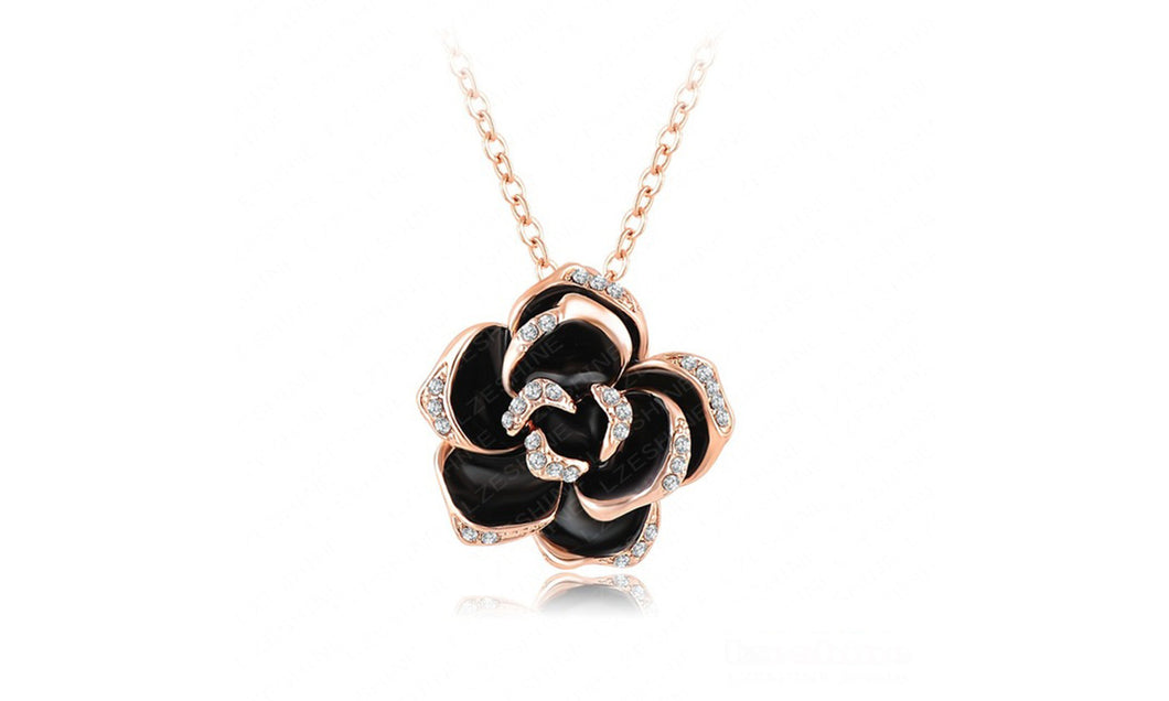 Black Rose Pendant Necklace - Available in Multiple Colours