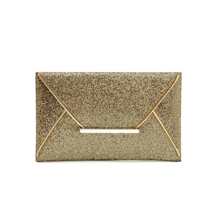 Gold Glitter Sequined Envelope Shaped PU Leather Clutch