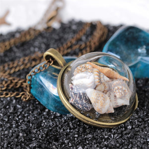 Vintage Ocean Shells Pendant Gold Necklace