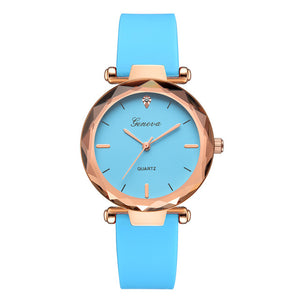 Gold Bezel Stainless Steel Silicone Strap Quartz Watch - Available in Multiple Colours