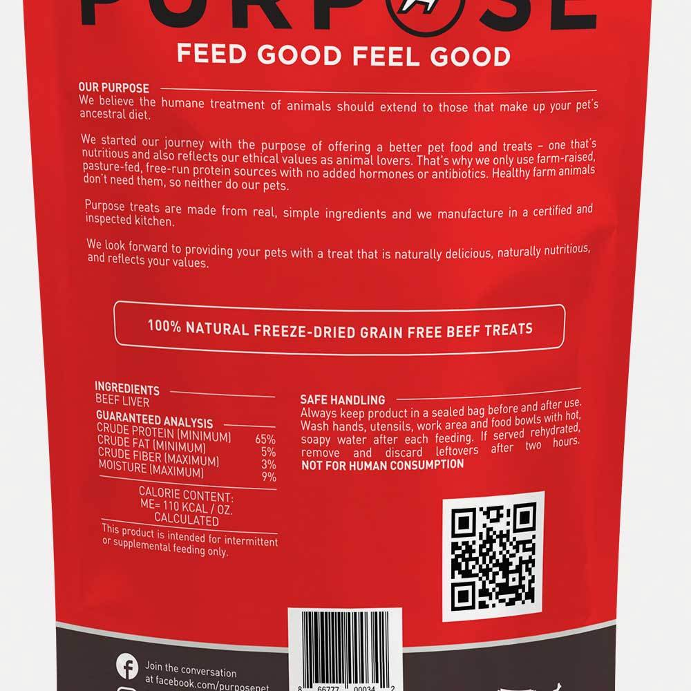 Beef Liver Freeze-Dried Raw Dog Treats - PURPOSE PET FOOD