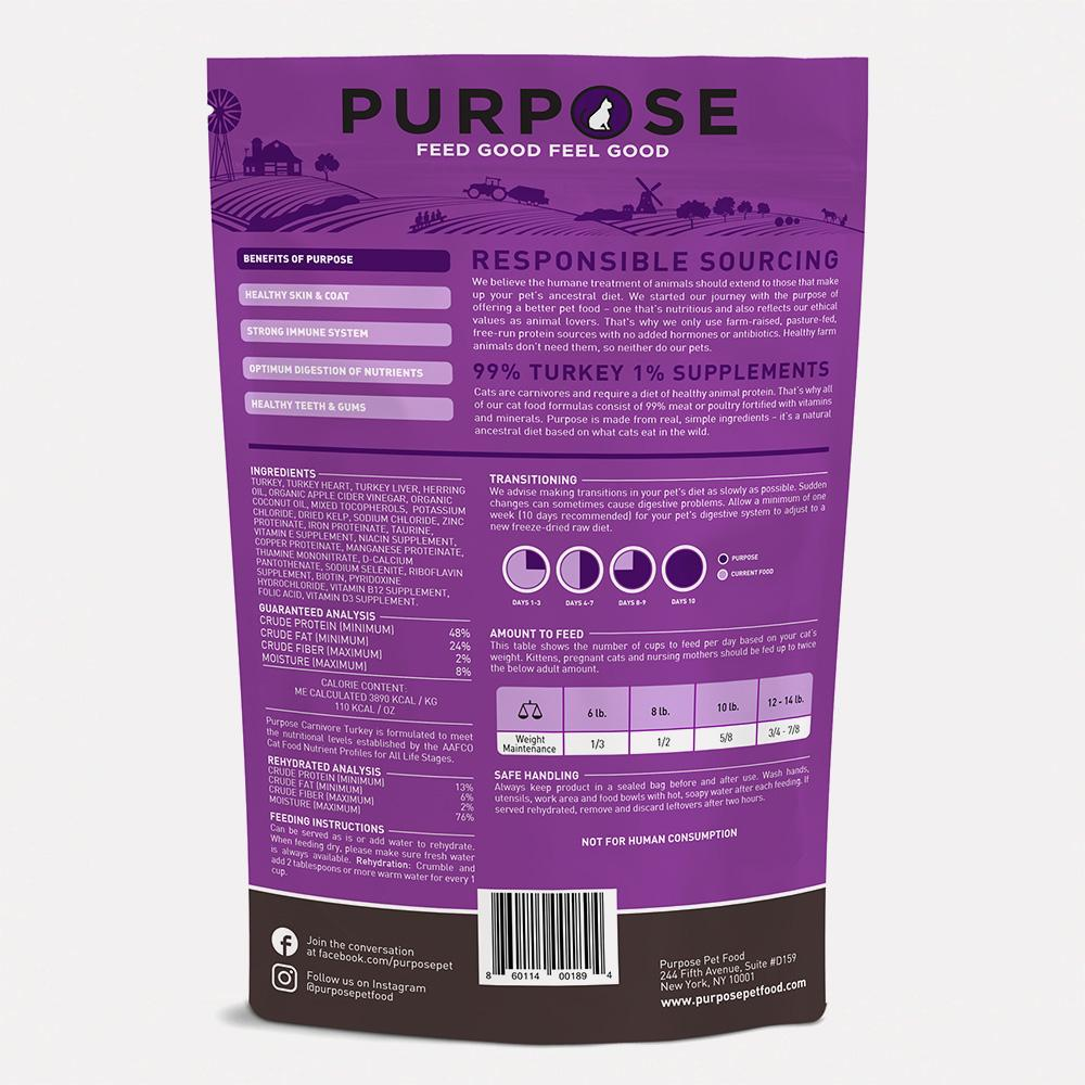Carnivore Turkey Freeze-Dried Raw Cat Food - PURPOSE PET FOOD