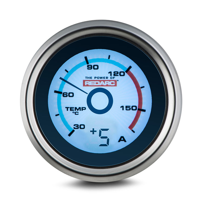 REDARC SINGLE TEMPERATURE 52MM GAUGE WITH OPTIONAL CURRENT DISPLAY