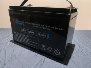 MONSTER CAMPERS, 100AH 12.8V LITHIUM IRON PHOSPHATE LiFePO4 BATTERY
