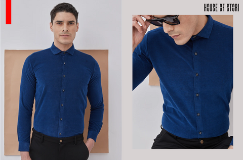 Navy Plain Party Wear Formal Shirts for men