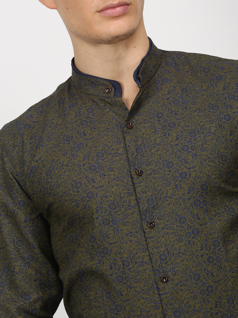 Green Printed Long Sleeve Party Wear Shirt