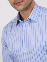 Blue Striped Long Sleeve Formal Shirt
