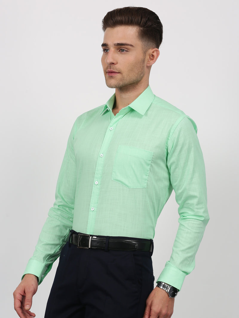 Parrot Green Plain Long Sleeve Formal Shirt