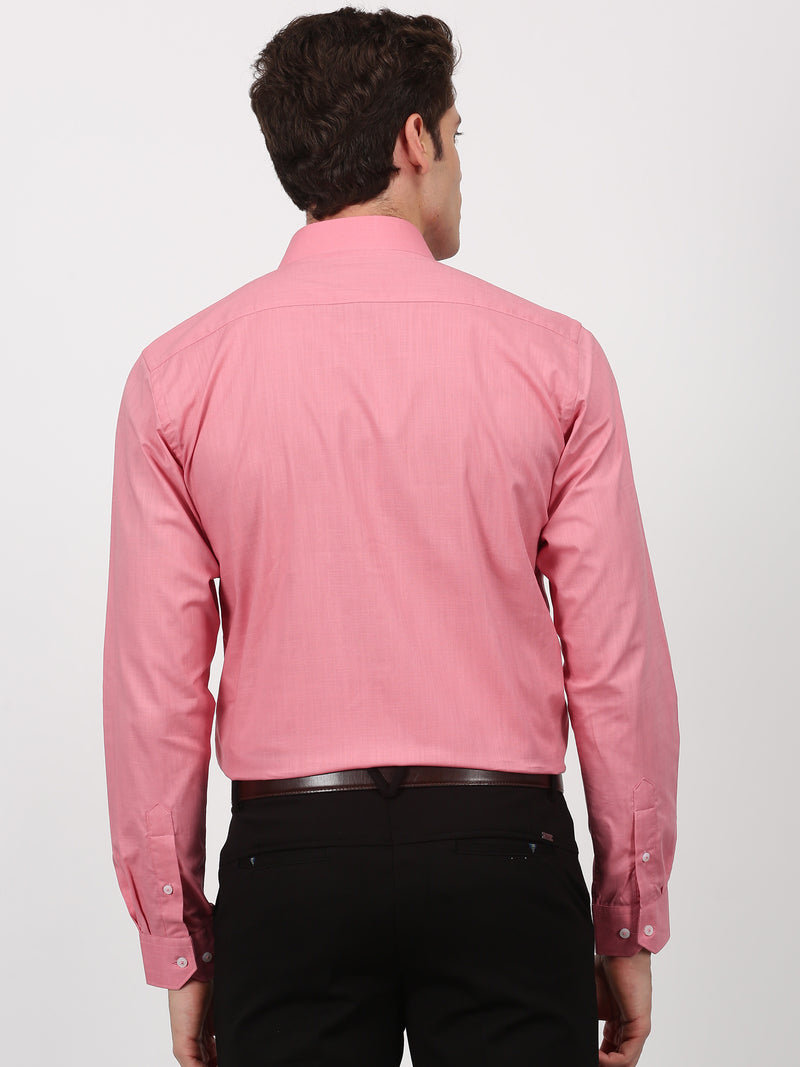 Dark Pink Plain Long Sleeve Formal Shirt