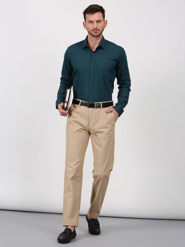 Dark Teal Plain Long Sleeve Formal Shirt