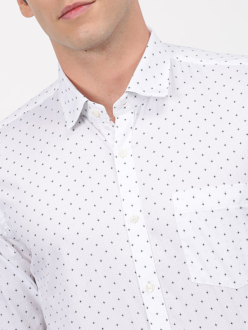 White Printed Long Sleeve Business Casual Shirt