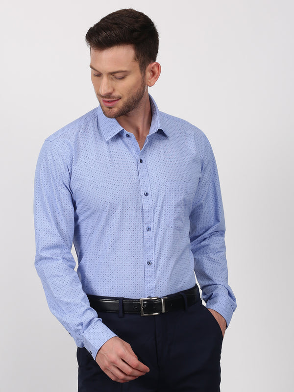 Blue Printed Long Sleeve Business Casual Shirt