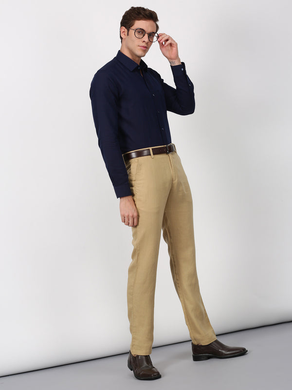 Navy Plain Long Sleeve Formal Shirt