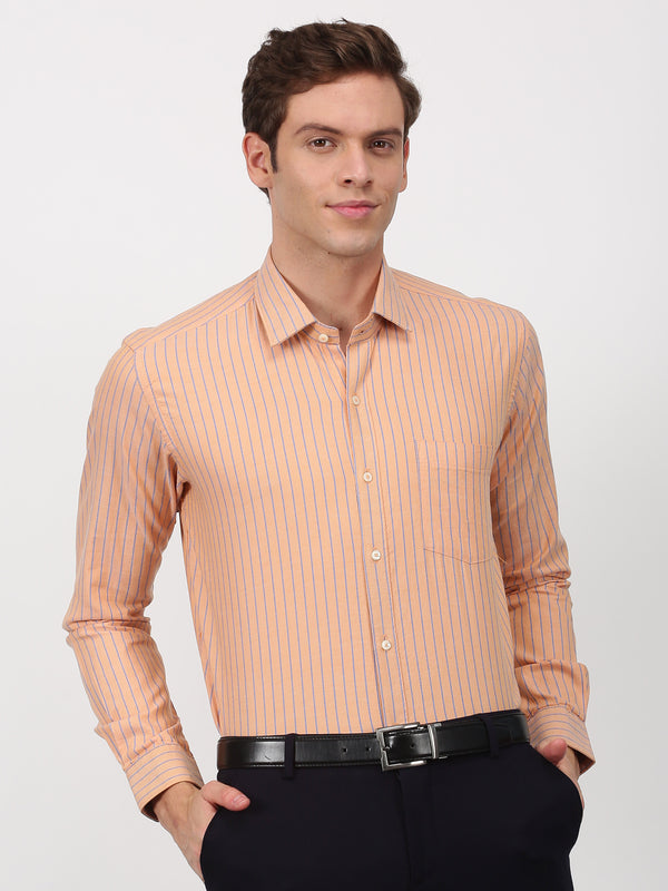 Orange Striped Long Sleeve Business Casual Shirt