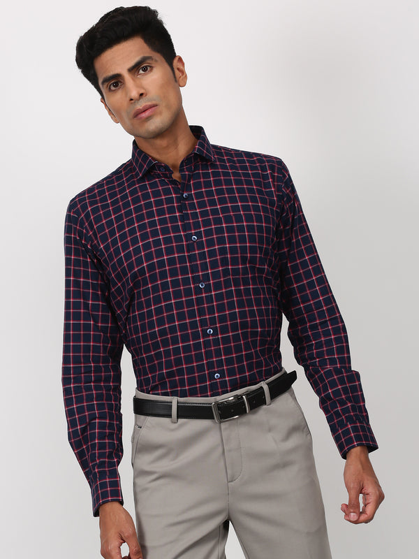 Blue Checked Long Sleeve Business Casual Shirt