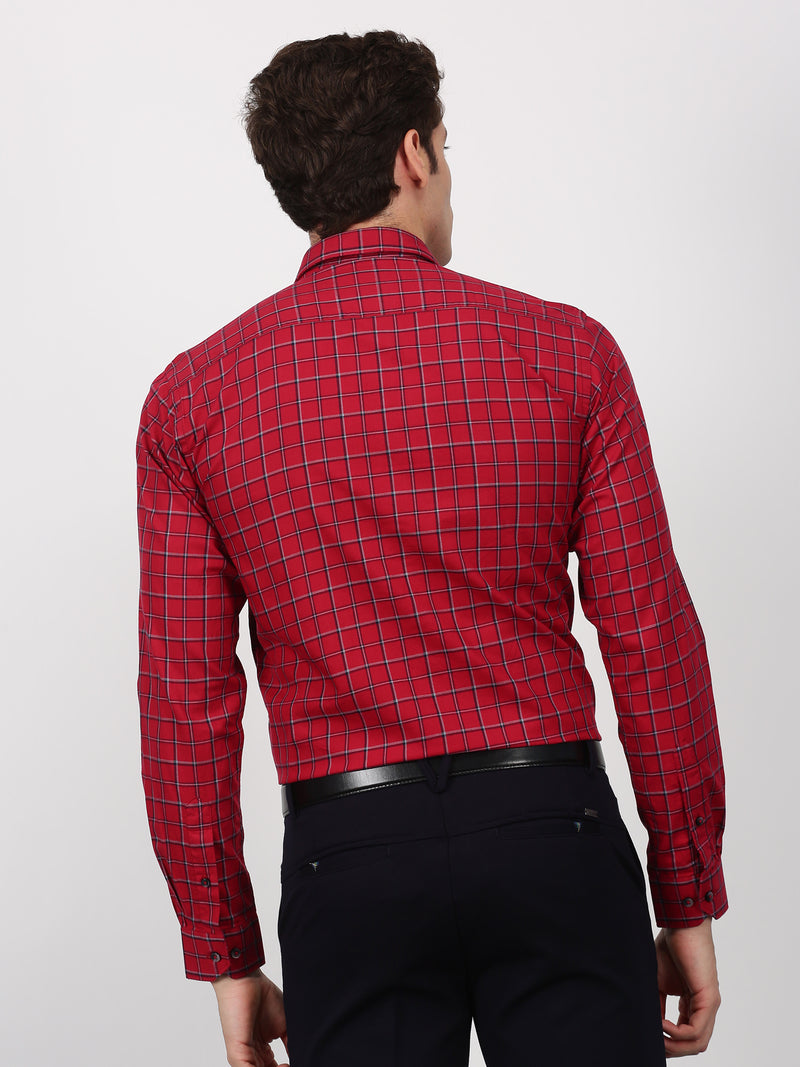 Red Checked Long Sleeve Business Casual Shirt