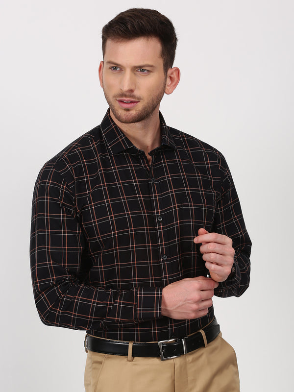 Black Checked Long Sleeve Business Casual Shirt