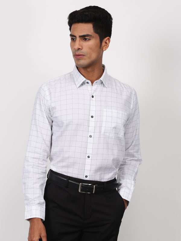 White Checked Long Sleeve Business Casual Shirt