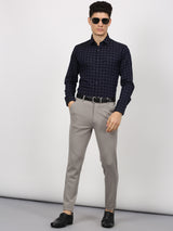 Navy Checked Long Sleeve Business Casual Shirt