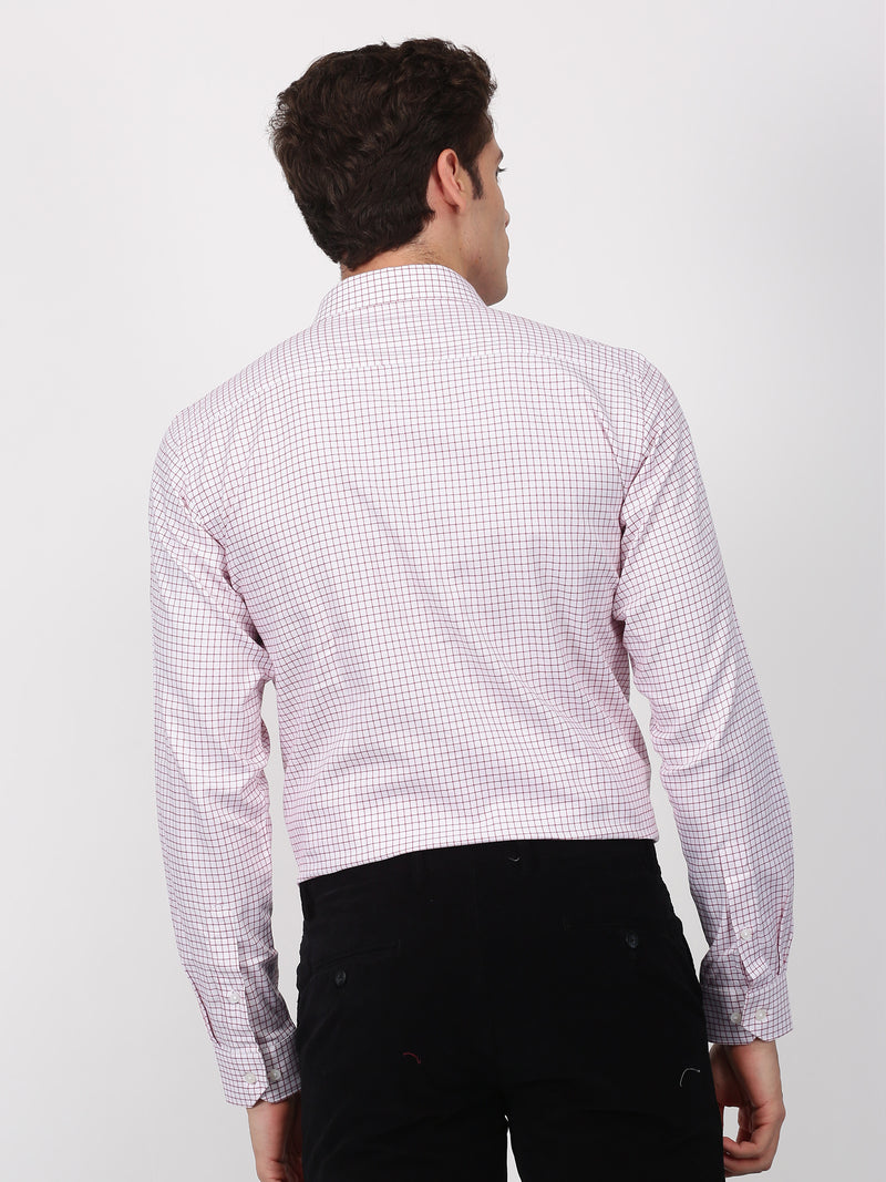 Red Checked Long Sleeve Formal Shirt