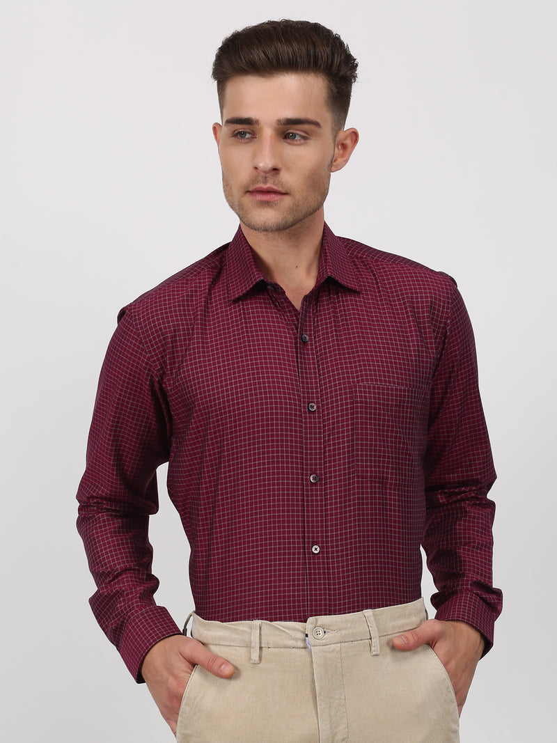 Maroon Checked Long Sleeve Formal Shirt