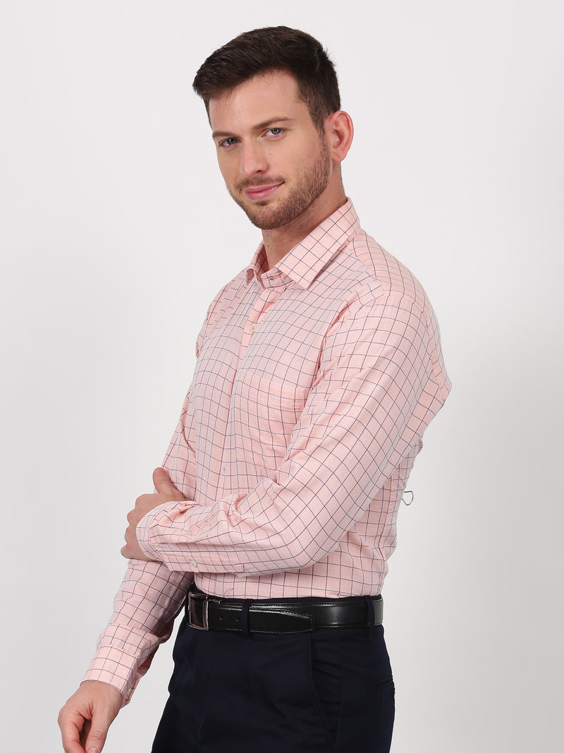 Orange Checked Long Sleeve Business Casual Shirt
