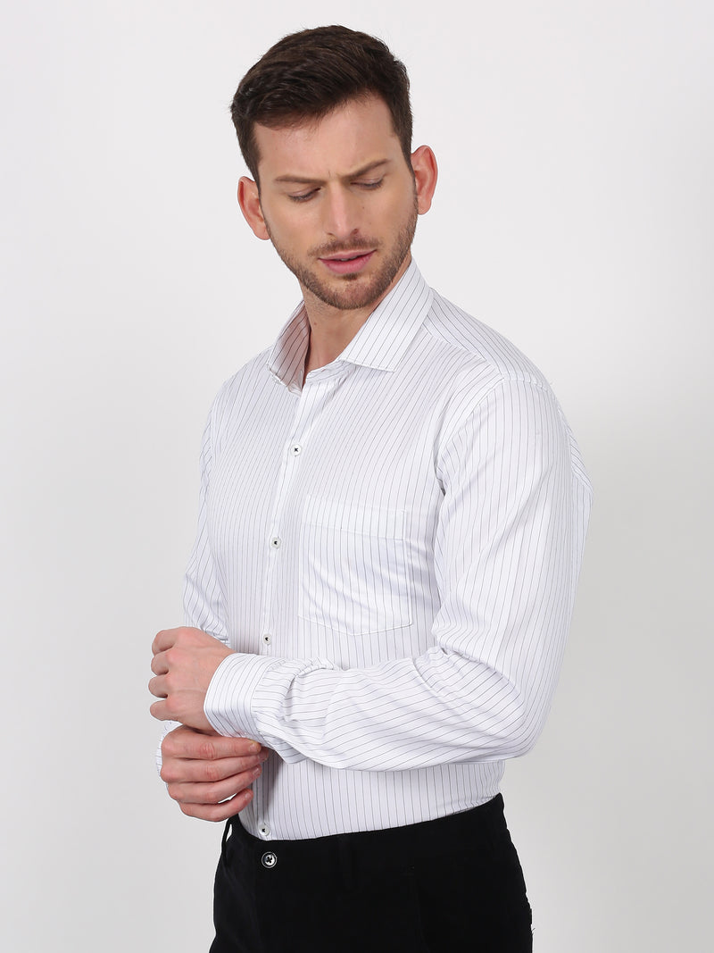 Black Striped Long Sleeve Formal Shirt