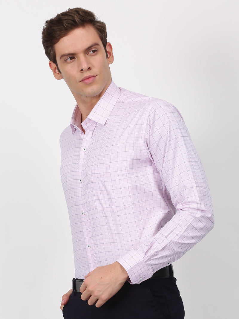 Pink Checked Long Sleeve Business Casual Shirt